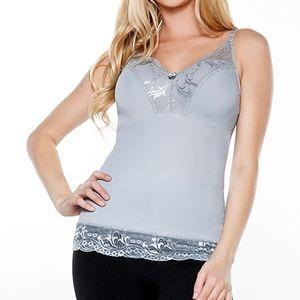 Rhonda Shear Light Gray Lace-Trim Pin-Up Camisole